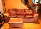 Leather Sleep Sofa with Queen Mattress & Ottoman